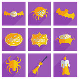 Set of Halloween with shadow flat concept modern Royalty Free Stock Photos