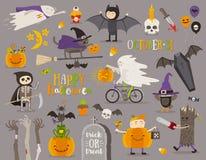 Set of halloween sign and symbol Stock Photos