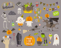 Set of halloween sign and symbol, Stock Photo