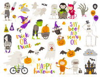 Set of halloween sign and symbol Royalty Free Stock Image