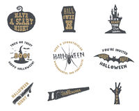 Set of halloween silhouette badges. Vintage hand drawn Halloween party logo design for celebrating holiday. Retro Stock Photo