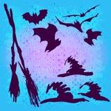 Set of halloween silhouette Stock Photos