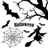 Set of halloween silhouette on white background Stock Photo