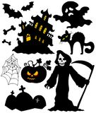 Set of Halloween silhouettes. Vector illustration Royalty Free Stock Photography