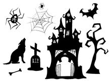 Set of halloween silhouettes. Black isolated on white. Vector illustration Royalty Free Stock Image