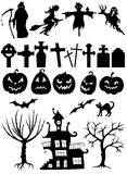 Set of Halloween silhouettes Stock Images