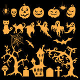 Set of Halloween silhouettes Royalty Free Stock Images