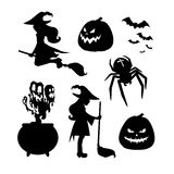 Set for Halloween silhouettes. Set of Halloween silhouettes. A witch with a broom, witch flying on a broom, evil pumpkin, cauldron potion, flock of bats, spider Stock Photos