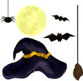 Set for Halloween spider, broom, witch hat, bat, moon. On a white background Stock Photography