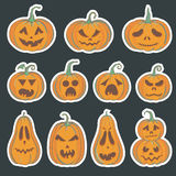 Set of Halloween stickers with carved pumpkins. Halloween stickers with carved pumpkins. Vector set of illustrations with Halloween pumpkins vector illustration
