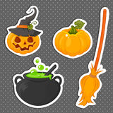 Set of Halloween stickers related objects and creatures. Set of halloween icons for your design. Flat design. Stock Photos