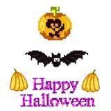 A set for Halloween in style pixel art - a pumpkin, a bat  Stock Photos