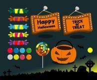 Set of Halloween. Symbols on a blue background Royalty Free Stock Photo
