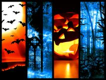 Set of halloween symbols - dark background Stock Image