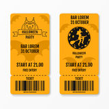 Set of halloween ticket on holiday party with castle church graves bats moon witch on a broomstick isolated. Flyer template design. Club event admission or Stock Image