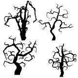 Set of halloween trees  on white background,  Royalty Free Stock Images