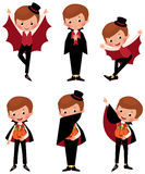 Set of Halloween vampire in various poses Stock Image