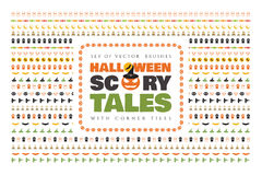 Set of halloween vector brushes with corner tiles. Scary tales. Royalty Free Stock Images