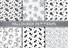 Set of halloween vector patterns. Endless monochrome halloween textures. Royalty Free Stock Photos