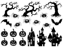 Set of Halloween vector silhouettes and stencils Stock Photo