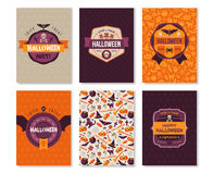 Set of Halloween Vertical Banners with Labels Stock Images