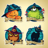 Set of Halloween vintage vector labels with pumpkins, toad, owl and black cat Stock Photo