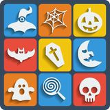 Set of 9 halloween web and mobile icons. Vector. Royalty Free Stock Photo