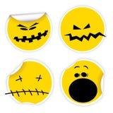Set of Halloween yellow smiles labels. Set of Halloween yellow labels with various smiles Stock Photo