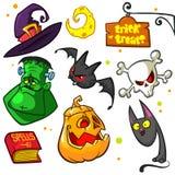 Set Halloweenowe dyniowe i atrybuty ikony ilustracji