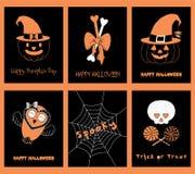 Set Halloweenowi kartka z pozdrowieniami royalty ilustracja