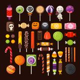 Set of Haloween candies. Set of colorful Halloween sweets for children. Vector candies decorated with halloween elements and ornaments made in traditional Stock Photography