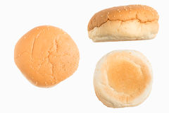 Set of hamburger bun. Back/font/side view on white background Stock Images