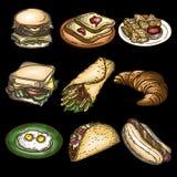 Set of hamburger, burger, toasts, chips, pita, croissant, eggs, tacos and hotdog isolated on black. stock illustration
