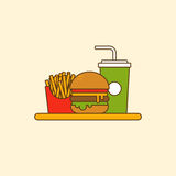 Set of hamburger french fries and soda flat design Royalty Free Stock Photography