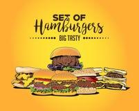 Set of Hamburgers. The set of hamburgers and cheeseburger in cartoon-style art, drawn in illustrator royalty free illustration