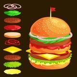 Set hamburgery piec na grillu wołowiien warzywa ubierał z kumberland babeczki przekąską, hamburgeru fasta food posiłku menu grill Obraz Stock