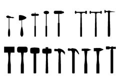 Set of hammer in silhouette icon Royalty Free Stock Images