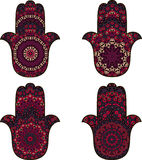 Set of hamsa. Four burgundy hamsa over white Stock Image