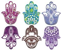 Set of hamsa hand . Hand of Fatima Stock Images
