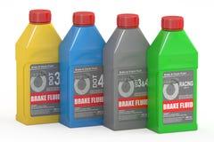 Set Hamulcowego fluidu butelki, 3D rendering Ilustracja Wektor