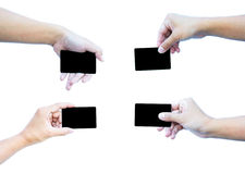 Set of hand with business card Stock Photos
