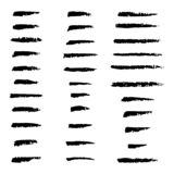 Set of hand crafted custom charcoal brushes, collection of hand drawn vector elements. Lines stock illustration