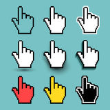 Set of hand cursor Icon. Vector illustration. Flat design. Isolated on turquoise background.  Royalty Free Stock Images
