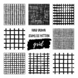 Set of Hand draw brush grid black and white seamless pattern. Abstract monochrome check background with crossing brush vector illustration