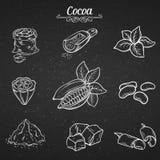 Set hand draw decorative cocoa chocolate Royalty Free Stock Photography