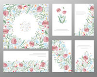 Set of hand draw floral card. Wedding invitation, thank you card, save the date buisiness set. Royalty Free Stock Images