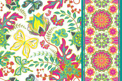 Set of hand draw floral seamless patterns with butterfly and seamless strip (border band ribbon). Vector illustration Royalty Free Stock Photo