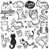 Set of hand draw funny cats in sketch style. Stock Photos