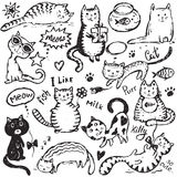 Set of hand draw funny cats in sketch style. Royalty Free Stock Image