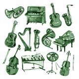Set of hand draw green watercolor musical instruments. Set of hand draw watercolor musical instruments Stock Image
